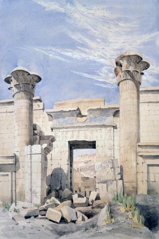 Entrance to the Temple of Ramses Iii, Egypt, 19th Century-GF Weston-Stretched Canvas Print