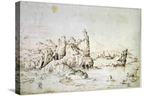 A Castle on a Rock in Mountainscape, 1540-Gherardo Cibo-Stretched Canvas Print