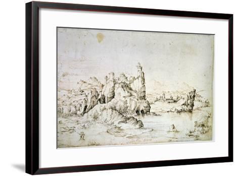 A Castle on a Rock in Mountainscape, 1540-Gherardo Cibo-Framed Art Print
