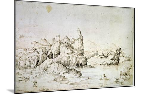 A Castle on a Rock in Mountainscape, 1540-Gherardo Cibo-Mounted Giclee Print