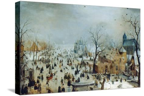 Winter Scene with Ice Skaters, C1608-Hendrick Avercamp-Stretched Canvas Print