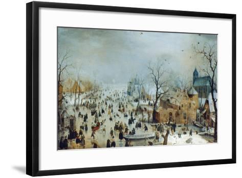 Winter Scene with Ice Skaters, C1608-Hendrick Avercamp-Framed Art Print