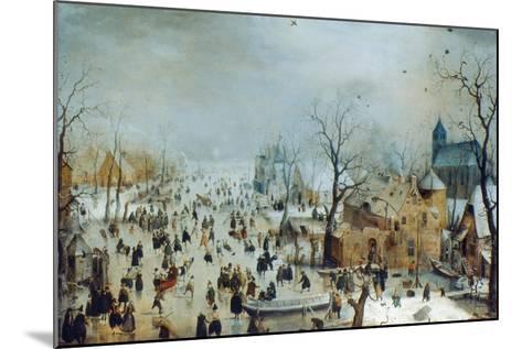 Winter Scene with Ice Skaters, C1608-Hendrick Avercamp-Mounted Giclee Print