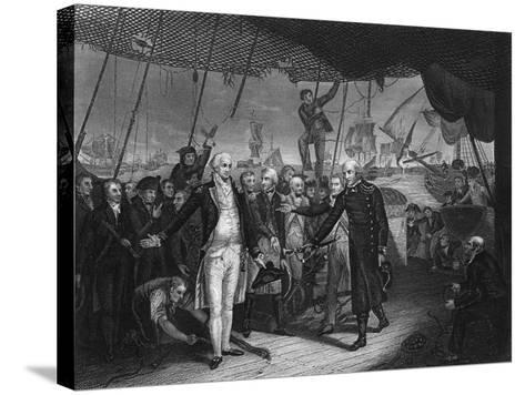 Admiral De Winter Resigning His Sword on Board the 'Venerable, 11 October 1797-H Lemon-Stretched Canvas Print