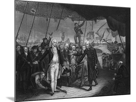 Admiral De Winter Resigning His Sword on Board the 'Venerable, 11 October 1797-H Lemon-Mounted Giclee Print