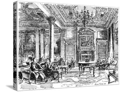The Members' Lounge, Rac Clubhouse, Pall Mall, London, 1946-Hanslip Fletcher-Stretched Canvas Print