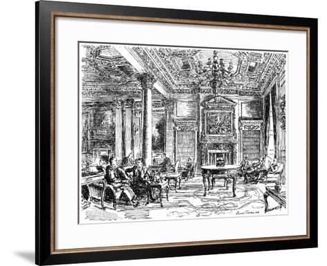 The Members' Lounge, Rac Clubhouse, Pall Mall, London, 1946-Hanslip Fletcher-Framed Art Print