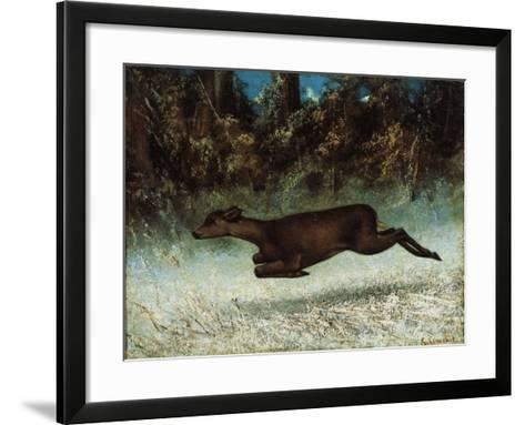 Doe Leaping, 19th Century-Gustave Courbet-Framed Art Print