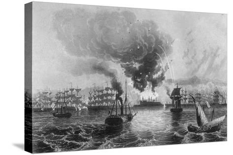 Bombardment of St Jean D'Acre by Admiral Sir Charles Napier, November 1840-H Winkles-Stretched Canvas Print