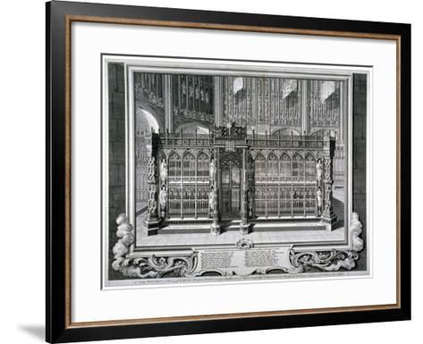 Monument to Henry VII and Queen Elizabeth in the King's Chapel, Westminster Abbey, London, 1735-George Vertue-Framed Art Print