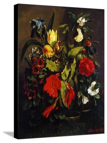 Still Life of Flowers, 1863-Gustave Courbet-Stretched Canvas Print