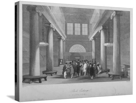 Interior View of the Stock Exchange, Bartholomew Lane, City of London, 1841-Harlen Melville-Stretched Canvas Print