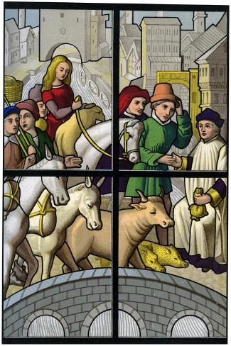 Toll Bridge, 15th Century-H Moulin-Stretched Canvas Print