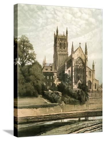 Worcester Cathedral, Worcestershire, C1870- Hanhart-Stretched Canvas Print