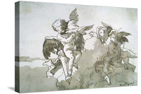 Cupids with Doves and a Torch, 17th Centruy-Giovanni Battista Tiepolo-Stretched Canvas Print