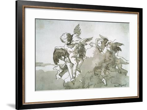 Cupids with Doves and a Torch, 17th Centruy-Giovanni Battista Tiepolo-Framed Art Print
