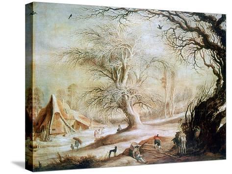 Winter Landscape, C1606-1656-Gysbrecht Leytens-Stretched Canvas Print