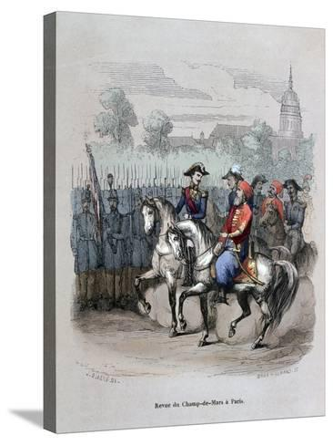 Military Review with Ibrahim Pacha, Champ De Mars, Paris, C1846-Gerard Corbiau-Stretched Canvas Print