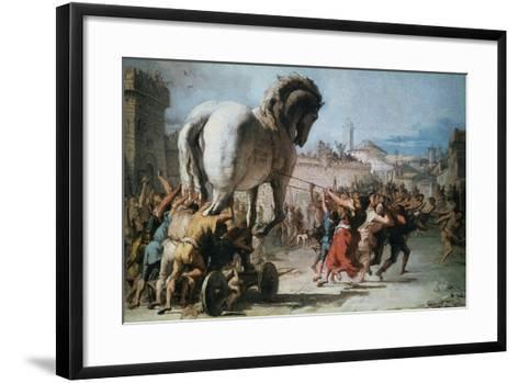 The Procession of the Trojan Horse into Troy, C1760-Giovanni Battista Tiepolo-Framed Art Print