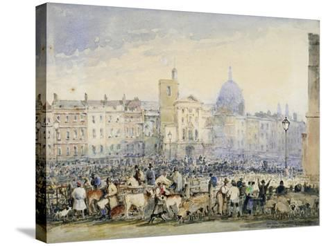 View of Smithfield Market with Figures and Animals, City of London, 1824-George Sidney Shepherd-Stretched Canvas Print