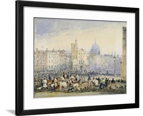 View of Smithfield Market with Figures and Animals, City of London, 1824-George Sidney Shepherd-Framed Art Print