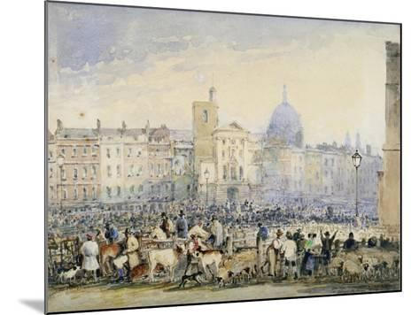 View of Smithfield Market with Figures and Animals, City of London, 1824-George Sidney Shepherd-Mounted Giclee Print