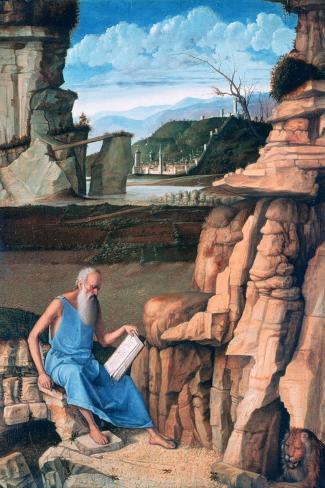 Saint Jerome Reading in a Landscape, C1480-1485-Giovanni Bellini-Stretched Canvas Print