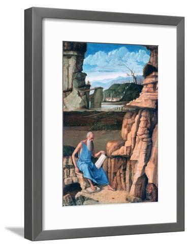Saint Jerome Reading in a Landscape, C1480-1485-Giovanni Bellini-Framed Art Print