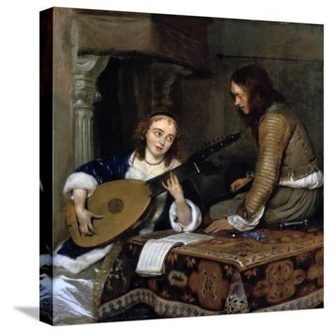 A Woman Playing the Theorbo-Lute and a Cavalier, C1658-Gerard Terborch II-Stretched Canvas Print