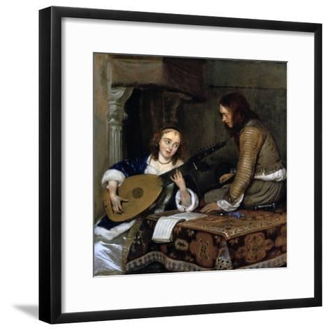 A Woman Playing the Theorbo-Lute and a Cavalier, C1658-Gerard Terborch II-Framed Art Print