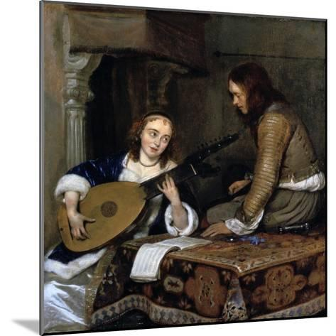 A Woman Playing the Theorbo-Lute and a Cavalier, C1658-Gerard Terborch II-Mounted Giclee Print