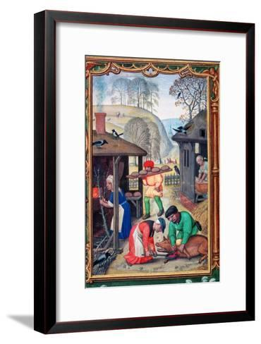 December, Slaughtering the Pig, 1520-Gerhard Hoornbach-Framed Art Print