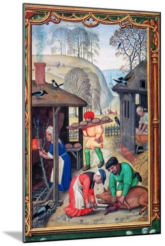 December, Slaughtering the Pig, 1520-Gerhard Hoornbach-Mounted Giclee Print