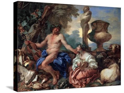 Pastoral Scene. Faun and Shepherdess, 1650S-Giovanni Benedetto Castiglione-Stretched Canvas Print