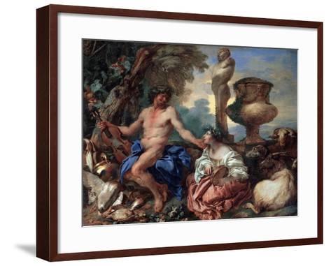 Pastoral Scene. Faun and Shepherdess, 1650S-Giovanni Benedetto Castiglione-Framed Art Print
