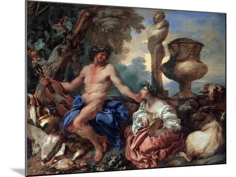 Pastoral Scene. Faun and Shepherdess, 1650S-Giovanni Benedetto Castiglione-Mounted Giclee Print