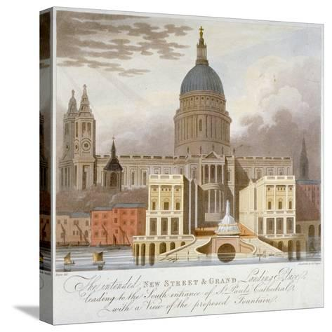 Proposed Riverfront Access to St Paul's Cathedral, City of London, 1826-GS Tregear-Stretched Canvas Print