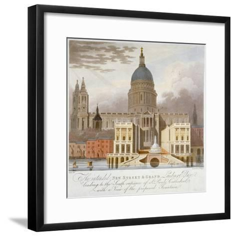 Proposed Riverfront Access to St Paul's Cathedral, City of London, 1826-GS Tregear-Framed Art Print