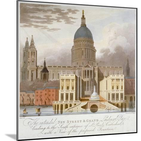Proposed Riverfront Access to St Paul's Cathedral, City of London, 1826-GS Tregear-Mounted Giclee Print