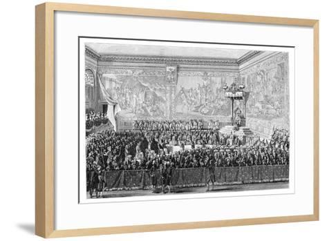 Parliament Meeting, Versailles 1776- Girardet-Framed Art Print