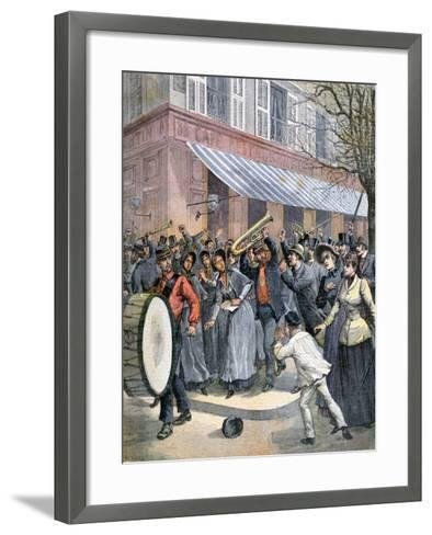 Salvation Army March Led by a Drummer Being Barracked by Onlookers in Paris, 1892-Henri Meyer-Framed Art Print