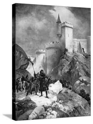 King Richard I (1157-119) Receiving His Death Wound before the Castle of Chaluz, 19th Century-Henri-Louis Dupray-Stretched Canvas Print