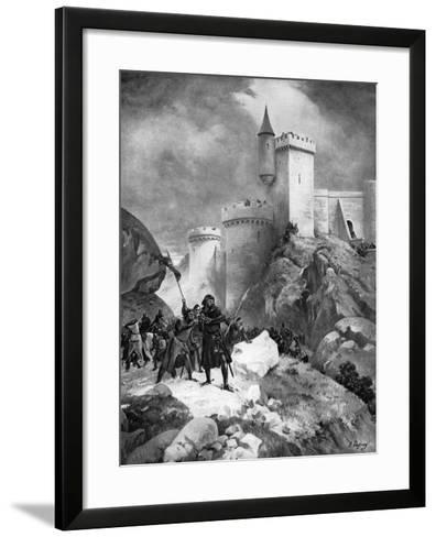 King Richard I (1157-119) Receiving His Death Wound before the Castle of Chaluz, 19th Century-Henri-Louis Dupray-Framed Art Print