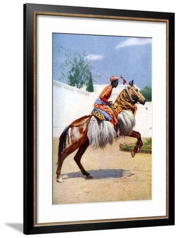 An Arab Dancing Horse, Udaipur, India, 1922-Herbert Ponting-Framed Art Print