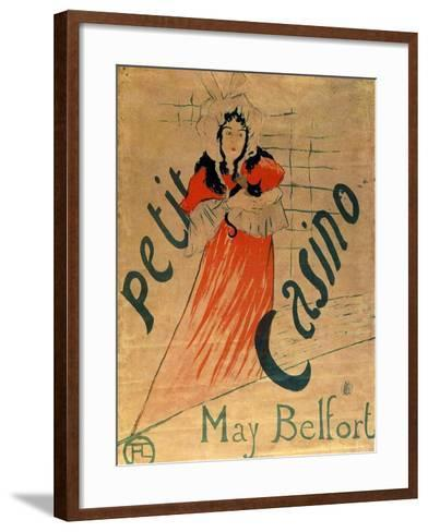 May Belfort, Petit Casino, 1895-Henri de Toulouse-Lautrec-Framed Art Print