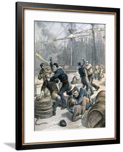 Brawl Between English and German Sailors at Millwall Docks, London, 1892-Henri Meyer-Framed Art Print