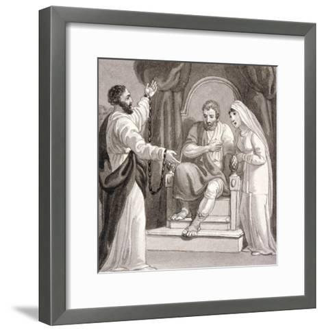 St Paul before the Governor of Caesarea, Felix, and His Wife, Drusilla, C1810-1844-Henry Corbould-Framed Art Print