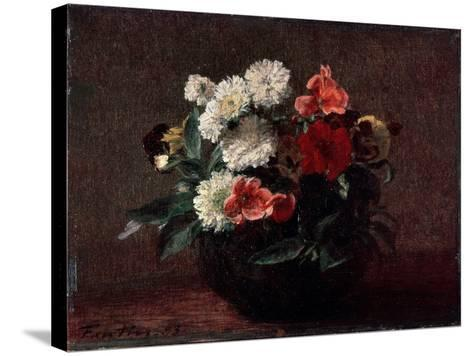Flowers in an Earthenware Vase, 1883-Henri Fantin-Latour-Stretched Canvas Print