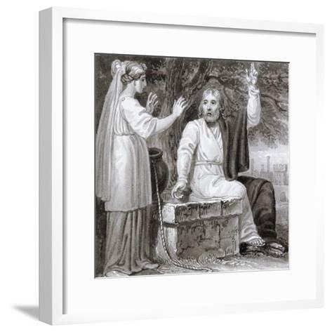 Christ and the Woman of Samaria, C1810-C1844-Henry Corbould-Framed Art Print