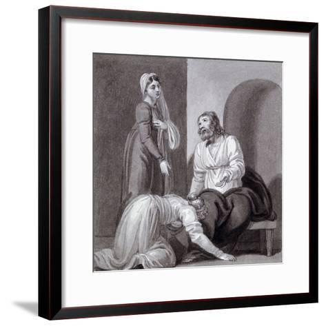 Christ with Martha and Mary, C1810-C1844-Henry Corbould-Framed Art Print